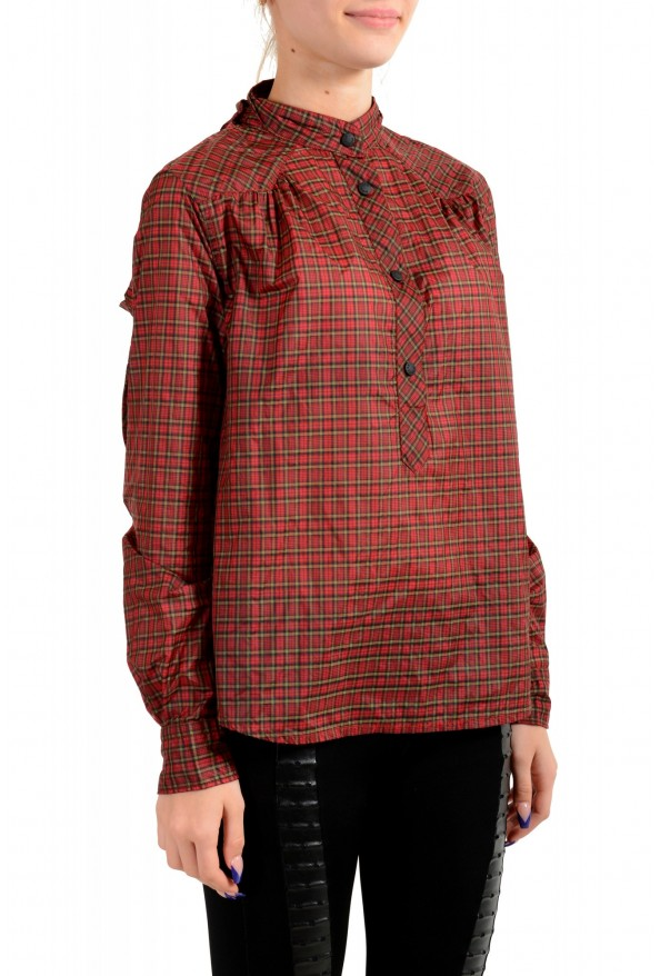 Moncler Women's Multi-Color Plaid Long Sleeve Hooded Blouse Top  : Picture 2