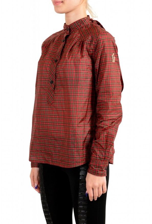 Moncler Women's Multi-Color Plaid Long Sleeve Hooded Blouse Top  : Picture 3