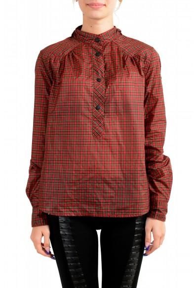 Moncler Women's Multi-Color Plaid Long Sleeve Hooded Blouse Top