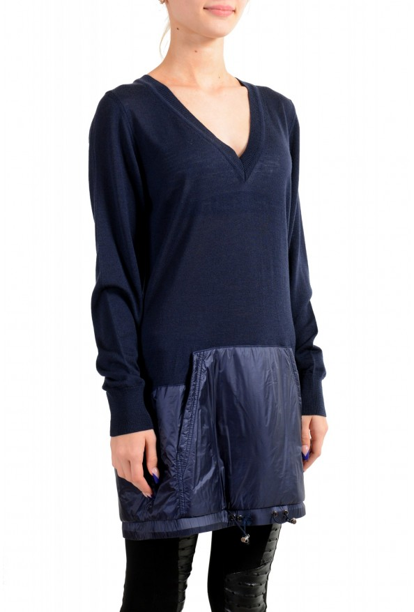 Moncler Women's Blue 100% Wool V-Neck Pullover Sweater: Picture 2