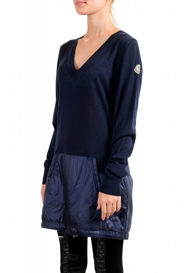Moncler Women's Blue 100% Wool V-Neck Pullover Sweater: Picture 3