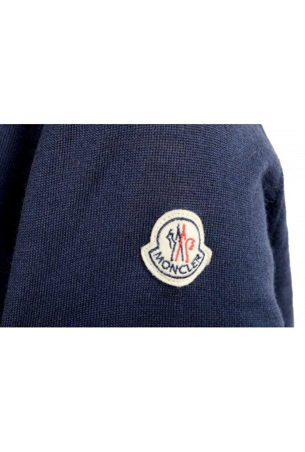 Moncler Women's Blue 100% Wool V-Neck Pullover Sweater: Picture 6