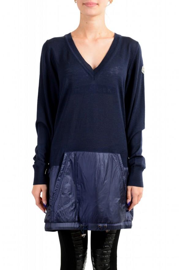 Moncler Women's Blue 100% Wool V-Neck Pullover Sweater