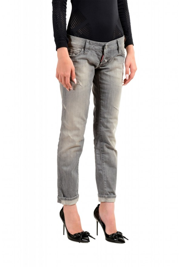 """Dsquared2 Women's """"Pat Jean"""" Gray Wash Distressed Straight Jeans: Picture 2"""