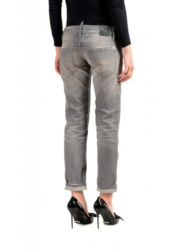 """Dsquared2 Women's """"Pat Jean"""" Gray Wash Distressed Straight Jeans: Picture 3"""