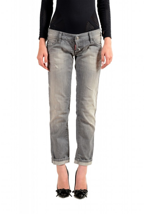 """Dsquared2 Women's """"Pat Jean"""" Gray Wash Distressed Straight Jeans"""