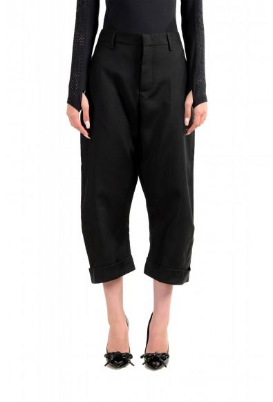 Dsquared2 Women's Black Wool Silk Dress Cropped Pants