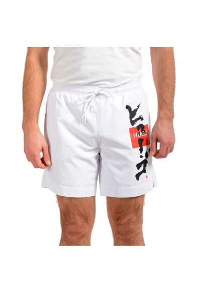 """Hugo Boss Men's """"Kanji Woven"""" White Swim Board Shorts"""