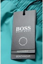 "Hugo Boss Men's ""Dolphin"" Green Logo Print Swim Board Shorts: Picture 4"