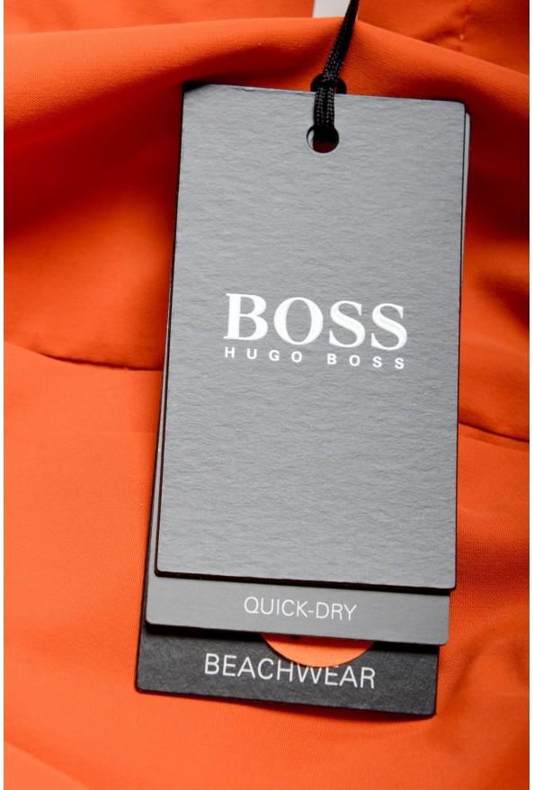 "Hugo Boss Men's ""Dolphin"" Orange Logo Print Swim Board Shorts: Picture 4"