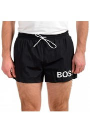"Hugo Boss Men's ""Mooneye"" Black Logo Print Swim Board Shorts"
