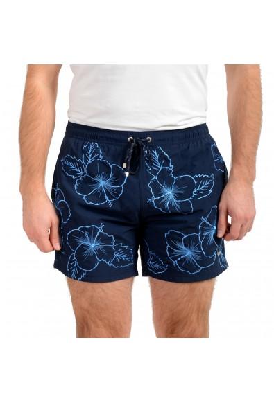 """Hugo Boss Men's """"White Shark"""" Blue Embellished Swim Board Shorts"""