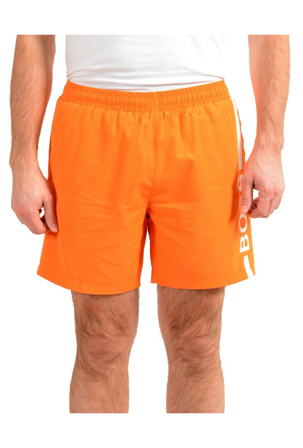 "Hugo Boss Men's ""Dolphin"" Orange Logo Print Swim Board Shorts"