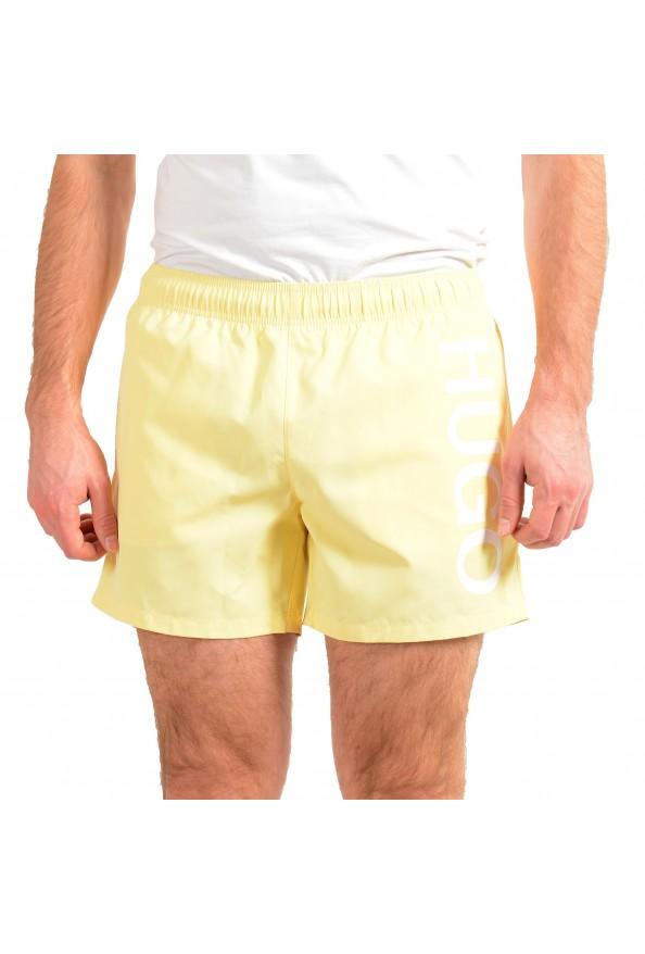 "Hugo Boss Men's ""ABAS"" Yellow Logo Print Swim Board Shorts"