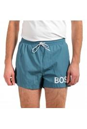"Hugo Boss Men's ""Mooneye"" Cloud Blue Logo Print Swim Board Shorts"