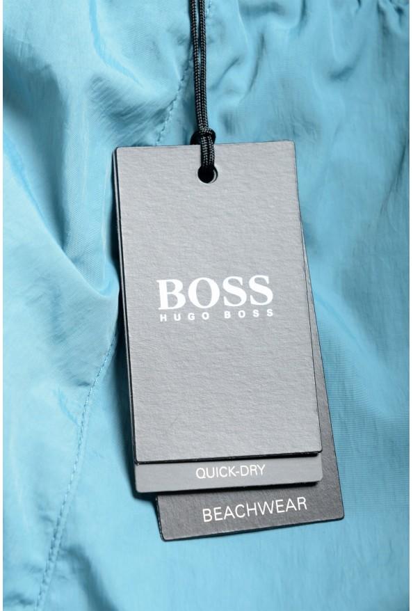 "Hugo Boss Men's ""Mooneye"" Cloud Blue Logo Print Swim Board Shorts: Picture 4"