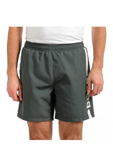"Hugo Boss Men's ""Dolphin"" Gray Logo Print Swim Board Shorts"