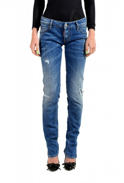"Dsquared2 Women's ""Super Slim Jean"" Distressed Blue Skinny Jeans"