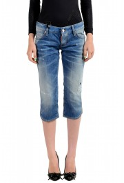 Dsquared2 Women's Blue Wash Distressed Cropped Capri Jeans
