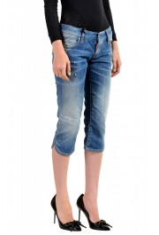 Dsquared2 Women's Blue Wash Distressed Cropped Capri Jeans: Picture 2