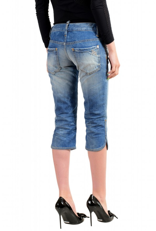 Dsquared2 Women's Blue Wash Distressed Cropped Capri Jeans: Picture 3