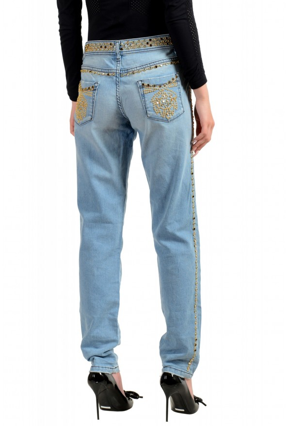 """Just Cavalli Women's Embroidered Luxury """"Skinny Leg"""" Blue Wash Jeans: Picture 3"""