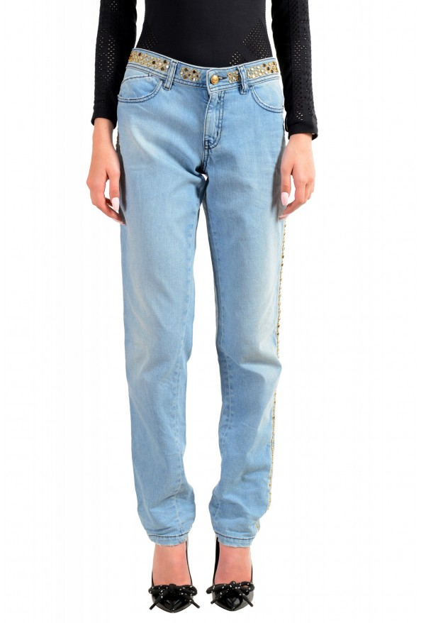 """Just Cavalli Women's Embroidered Luxury """"Skinny Leg"""" Blue Wash Jeans"""