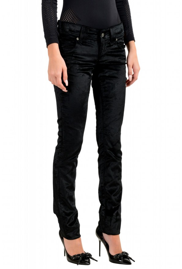 John Galliano Women's Black Velour Slim Jeans : Picture 2