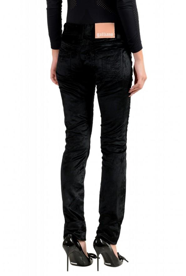 John Galliano Women's Black Velour Slim Jeans : Picture 3