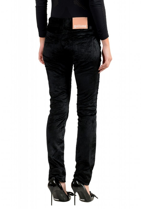 John Galliano Women's Black Velour Slim Jeans: Picture 3
