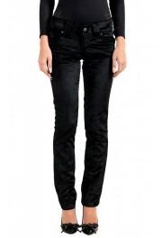 John Galliano Women's Black Velour Slim Jeans