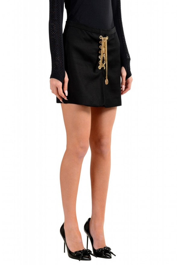 Dsquared2 Women's Black Metal Chain Decorated Mini Skirt: Picture 2