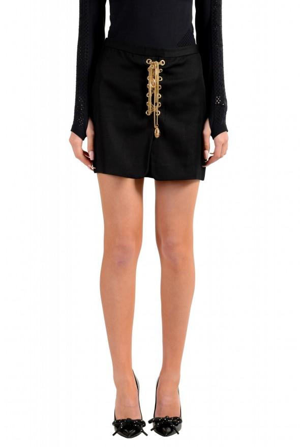 Dsquared2 Women's Black Metal Chain Decorated Mini Skirt