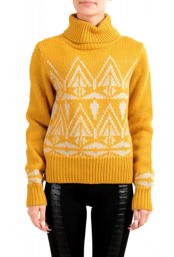Moncler Women's Mustard Yellow 100% Wool Turtleneck Pullover Sweater