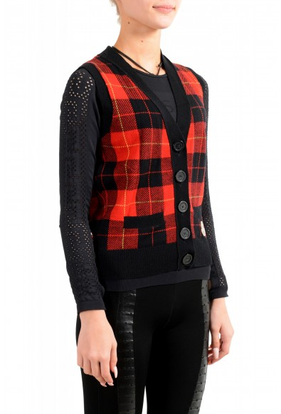 Moncler Women's 100% Wool Plaid Sleeveless Cardigan Vest Sweater: Picture 2