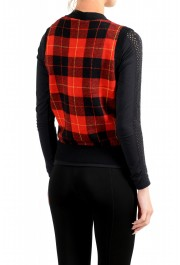 Moncler Women's 100% Wool Plaid Sleeveless Cardigan Vest Sweater: Picture 3