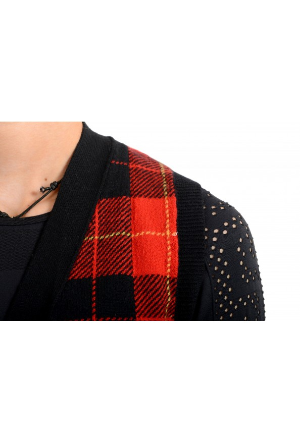 Moncler Women's 100% Wool Plaid Sleeveless Cardigan Vest Sweater: Picture 4