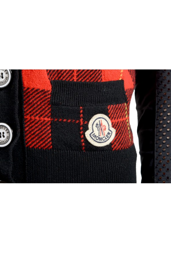 Moncler Women's 100% Wool Plaid Sleeveless Cardigan Vest Sweater: Picture 5