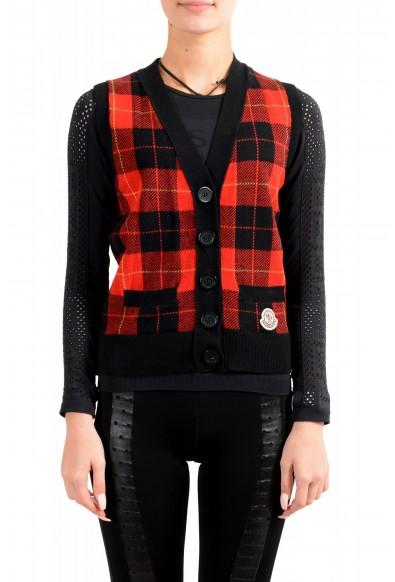 Moncler Women's 100% Wool Plaid Sleeveless Cardigan Vest Sweater