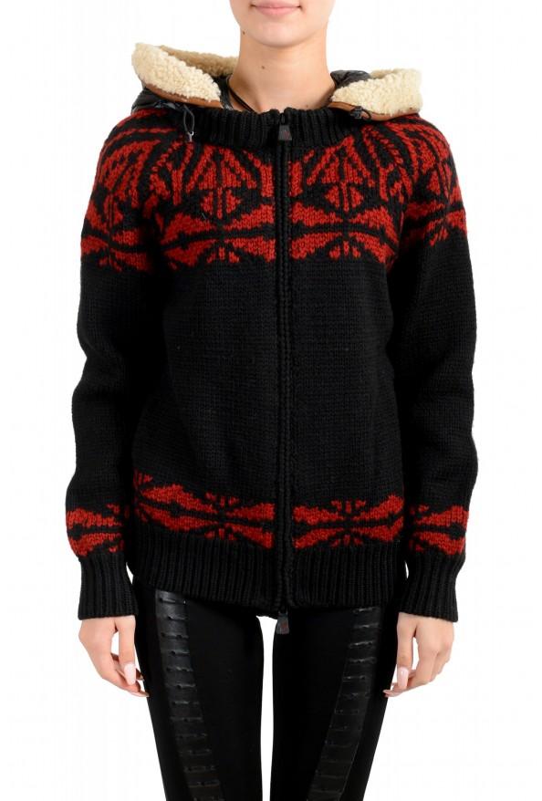 Moncler Women's 100% Wool Hooded Cardigan Sweater