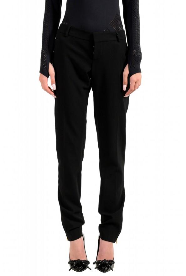 Dsquared2 Women's Black Wool Flat Front Dress Pants