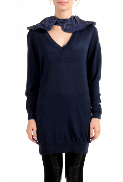 Moncler Women's Blue 100% Wool Hooded V-Neck Pullover Sweater