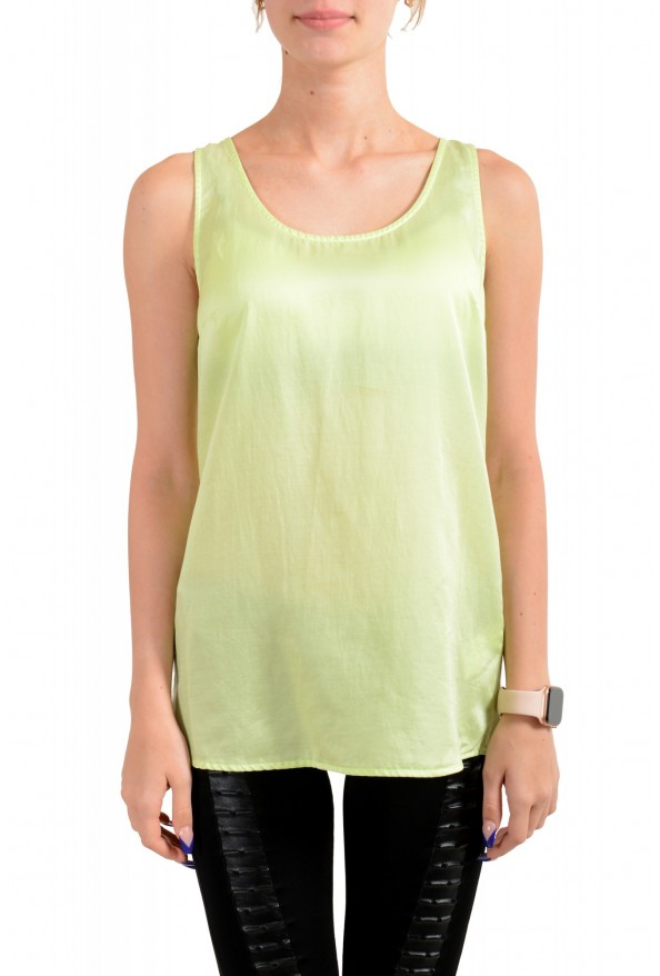 "Hugo Boss Orange Women's ""Etope"" Green Silk Sleeveless Blouse Top"