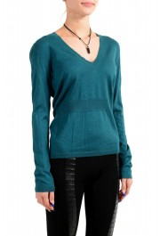 Moncler Women's Green Silk Cashmere V-Neck Pullover Sweater : Picture 2