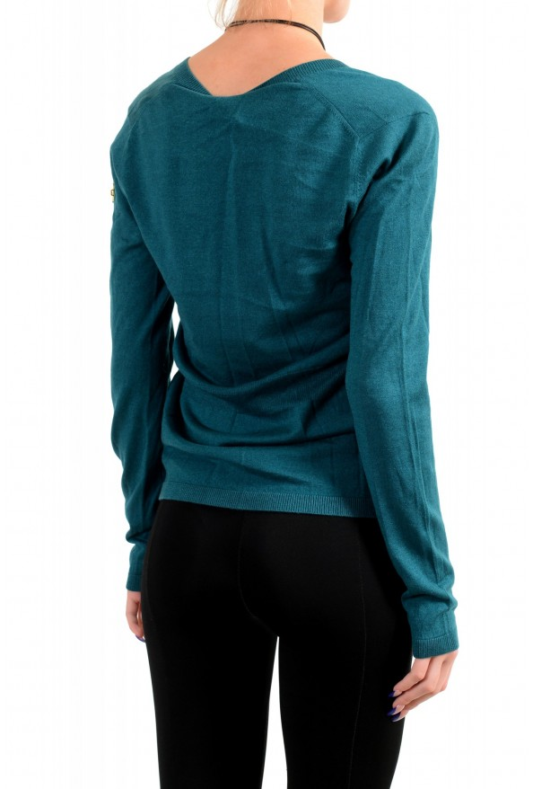 Moncler Women's Green Silk Cashmere V-Neck Pullover Sweater : Picture 3