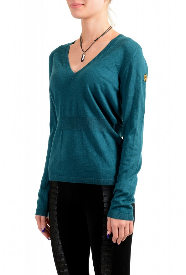Moncler Women's Green Silk Cashmere V-Neck Pullover Sweater : Picture 4
