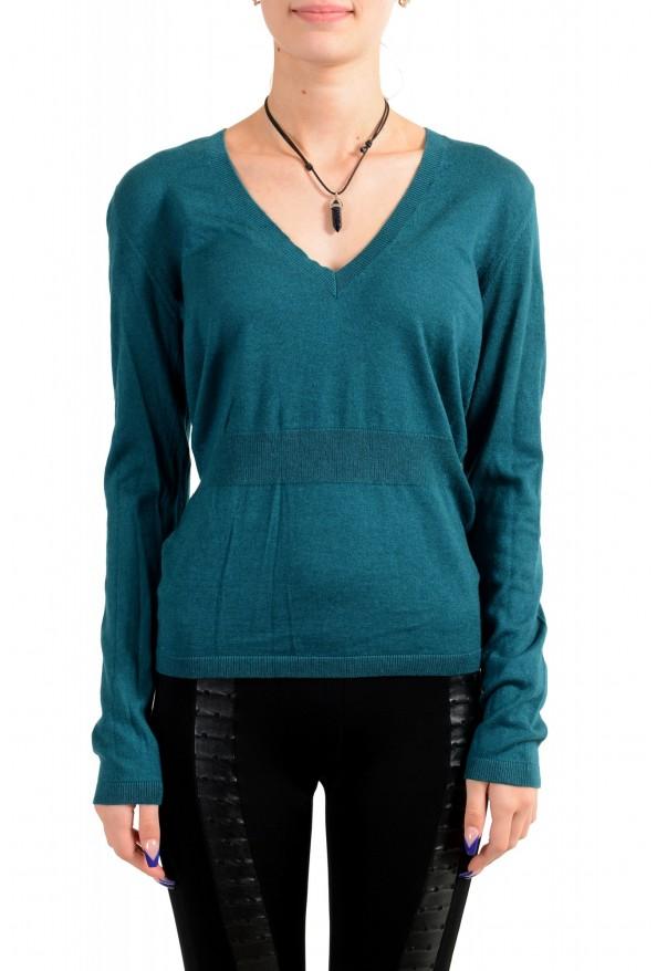 Moncler Women's Green Silk Cashmere V-Neck Pullover Sweater