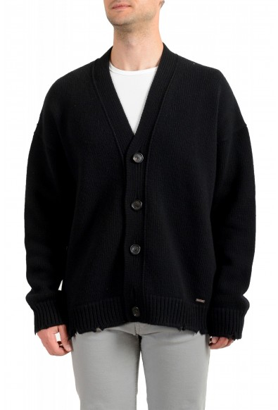 Dsquared2 Men's Black 100% Wool Distressed Look Cardigan Sweater