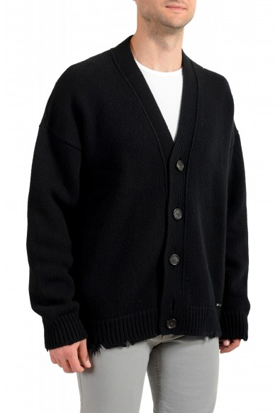 Dsquared2 Men's Black 100% Wool Distressed Look Cardigan Sweater: Picture 2