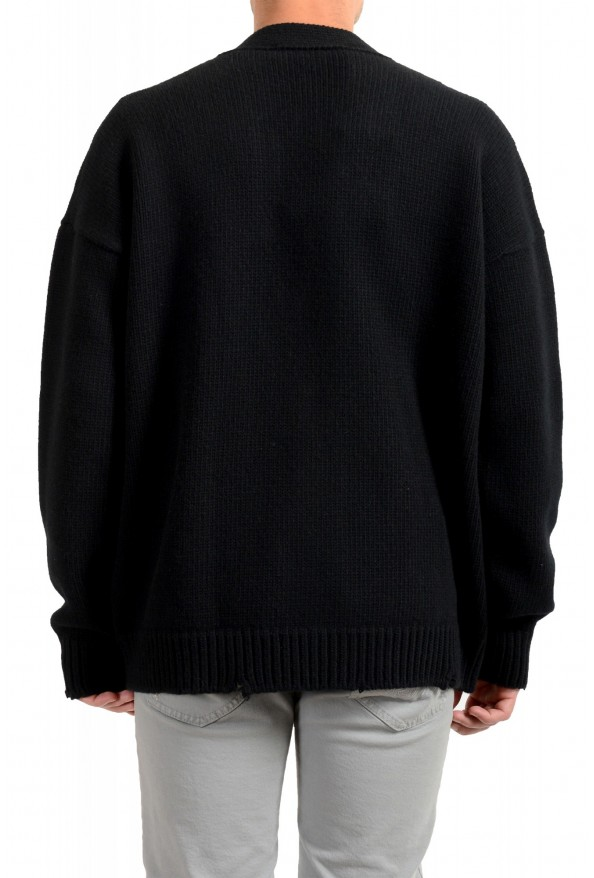 Dsquared2 Men's Black 100% Wool Distressed Look Cardigan Sweater: Picture 3